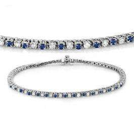 3.00 Carat (ctw) 10K White Gold Round Real Blue Sapphire & White Diamond Ladies Tennis Bracelet 3 CT