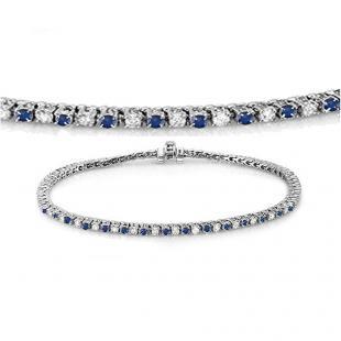 1.50 Carat (ctw) 10K White Gold Round Real Blue Sapphire & White Diamond Ladies Tennis Bracelet 1 1/2 CT