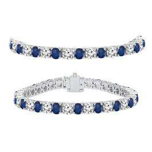 12.00 Carat (ctw) 14K White Gold Round Real Blue Sapphire & White Diamond Ladies Tennis Bracelet 12 CT