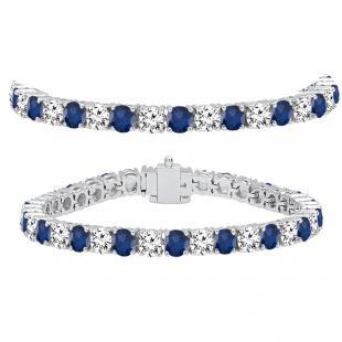 15.00 Carat (ctw) 14K White Gold Round Real Blue Sapphire & White Diamond Ladies Tennis Bracelet 15 CT