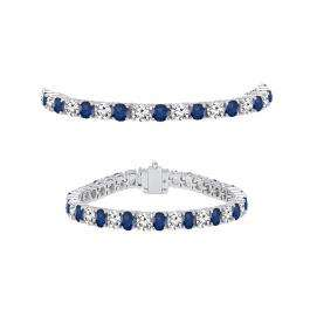 7.00 Carat (ctw) 14K White Gold Round Real Blue Sapphire & White Diamond Ladies Tennis Bracelet 7 CT