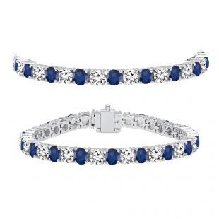 12.00 Carat (ctw) 18K White Gold Round Real Blue Sapphire & White Diamond Ladies Tennis Bracelet 12 CT