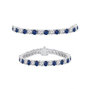 7.00 Carat (ctw) 18K White Gold Round Real Blue Sapphire & White Diamond Ladies Tennis Bracelet 7 CT