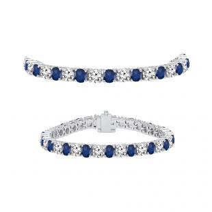 8.00 Carat (ctw) 18K White Gold Round Real Blue Sapphire & White Diamond Ladies Tennis Bracelet 8 CT
