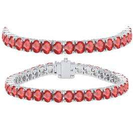 15.00 Carat (ctw) 10K White Gold Round Cut Real Ruby Ladies Tennis Bracelet 15 CT