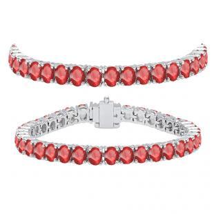 12.00 Carat (ctw) 14K White Gold Round Cut Real Ruby Ladies Tennis Bracelet 12 CT