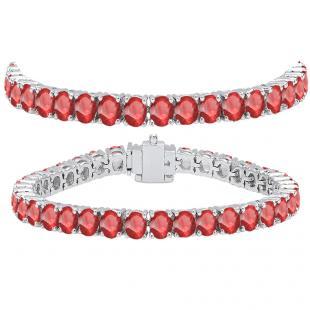 15.00 Carat (ctw) 14K White Gold Round Cut Real Ruby Ladies Tennis Bracelet 15 CT