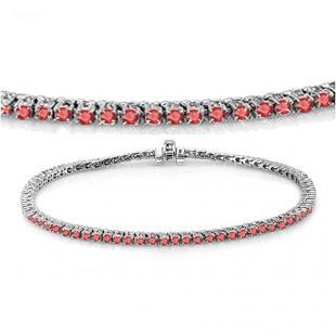 3.00 Carat (ctw) 14K White Gold Round Cut Real Ruby Ladies Tennis Bracelet 3 CT