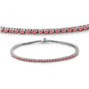 1.50 Carat (ctw) 14K White Gold Round Cut Real Ruby Ladies Tennis Bracelet 1 1/2 CT