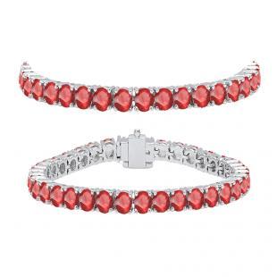 10.00 Carat (ctw) 18K White Gold Round Cut Real Ruby Ladies Tennis Bracelet 10 CT