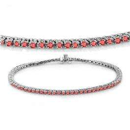 3.00 Carat (ctw) 18K White Gold Round Cut Real Ruby Ladies Tennis Bracelet 3 CT