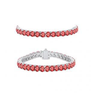 5.00 Carat (ctw) 18K White Gold Round Cut Real Ruby Ladies Tennis Bracelet 5 CT