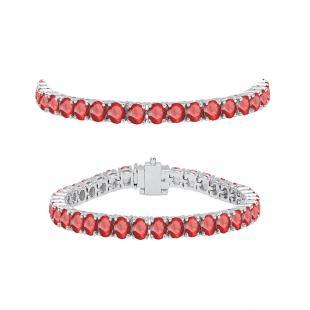 7.00 Carat (ctw) 18K White Gold Round Cut Real Ruby Ladies Tennis Bracelet 7 CT