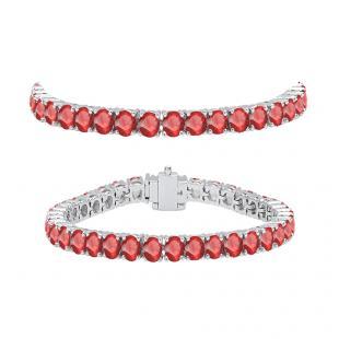 8.00 Carat (ctw) 18K White Gold Round Cut Real Ruby Ladies Tennis Bracelet 8 CT