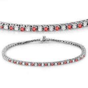 3.00 Carat (ctw) 10K White Gold Round Real Ruby & White Diamond Ladies Tennis Bracelet 3 CT