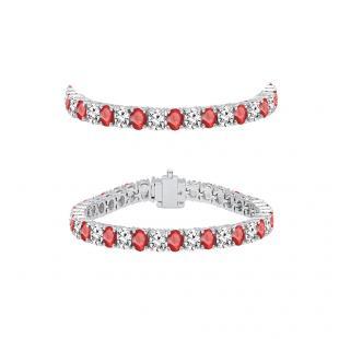5.00 Carat (ctw) 10K White Gold Round Real Ruby & White Diamond Ladies Tennis Bracelet 5 CT