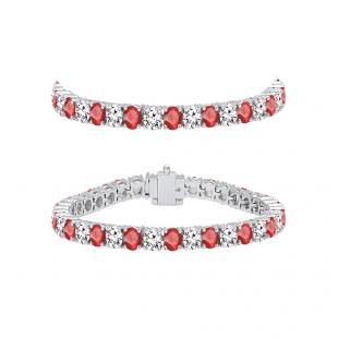 7.00 Carat (ctw) 10K White Gold Round Real Ruby & White Diamond Ladies Tennis Bracelet 7 CT