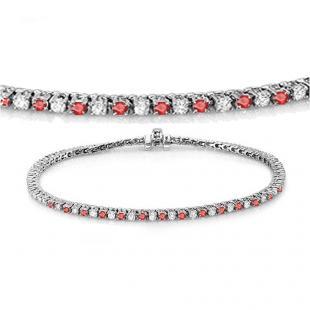 1.50 Carat (ctw) 10K White Gold Round Real Ruby & White Diamond Ladies Tennis Bracelet 1 1/2 CT