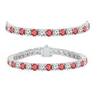 12.00 Carat (ctw) 14K White Gold Round Real Ruby & White Diamond Ladies Tennis Bracelet 12 CT