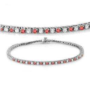 2.00 Carat (ctw) 14K White Gold Round Real Ruby & White Diamond Ladies Tennis Bracelet 2 CT