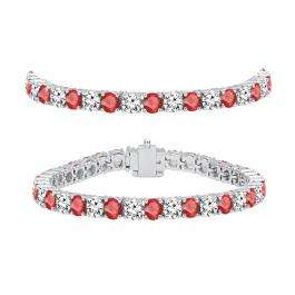 10.00 Carat (ctw) 18K White Gold Round Real Ruby & White Diamond Ladies Tennis Bracelet 10 CT