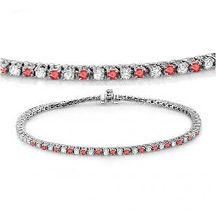 2.00 Carat (ctw) 18K White Gold Round Real Ruby & White Diamond Ladies Tennis Bracelet 2 CT