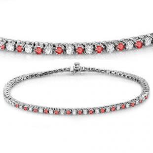 3.00 Carat (ctw) 18K White Gold Round Real Ruby & White Diamond Ladies Tennis Bracelet 3 CT