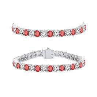 8.00 Carat (ctw) 18K White Gold Round Real Ruby & White Diamond Ladies Tennis Bracelet 8 CT