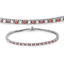 1.50 Carat (ctw) 18K White Gold Round Real Ruby & White Diamond Ladies Tennis Bracelet 1 1/2 CT