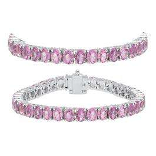 10.00 Carat (ctw) 10K White Gold Round Cut Real Pink Sapphire Ladies Tennis Bracelet 10 CT