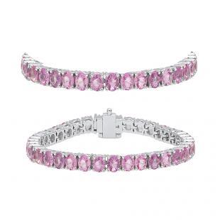 7.00 Carat (ctw) 10K White Gold Round Cut Real Pink Sapphire Ladies Tennis Bracelet 7 CT
