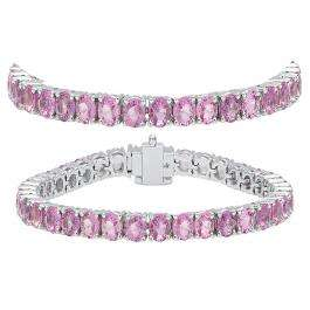 12.00 Carat (ctw) 14K White Gold Round Cut Real Pink Sapphire Ladies Tennis Bracelet 12 CT
