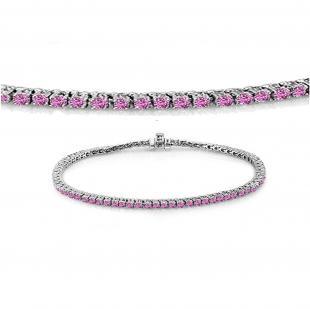 3.00 Carat (ctw) 14K White Gold Round Cut Real Pink Sapphire Ladies Tennis Bracelet 3 CT