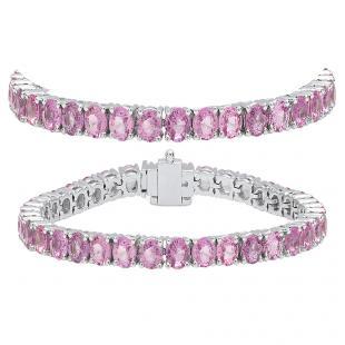 12.00 Carat (ctw) 18K White Gold Round Cut Real Pink Sapphire Ladies Tennis Bracelet 12 CT