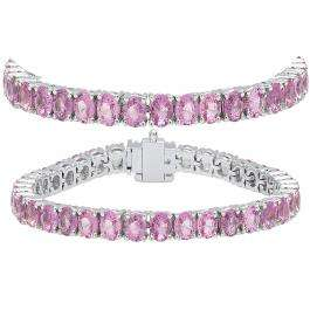 15.00 Carat (ctw) 18K White Gold Round Cut Real Pink Sapphire Ladies Tennis Bracelet 15 CT