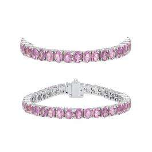 5.00 Carat (ctw) 18K White Gold Round Cut Real Pink Sapphire Ladies Tennis Bracelet 5 CT