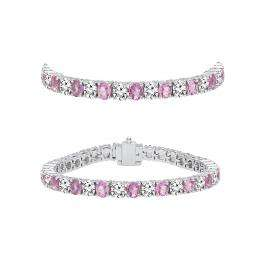 5.00 Carat (ctw) 10K White Gold Round Real Pink Sapphire & White Diamond Ladies Tennis Bracelet 5 CT