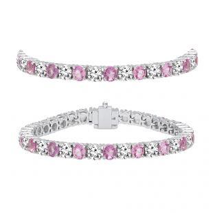 10.00 Carat (ctw) 14K White Gold Round Real Pink Sapphire & White Diamond Ladies Tennis Bracelet 10 CT