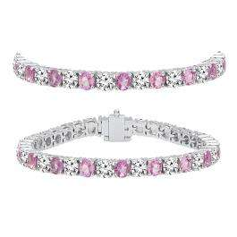 12.00 Carat (ctw) 14K White Gold Round Real Pink Sapphire & White Diamond Ladies Tennis Bracelet 12 CT