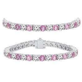 15.00 Carat (ctw) 14K White Gold Round Real Pink Sapphire & White Diamond Ladies Tennis Bracelet 15 CT