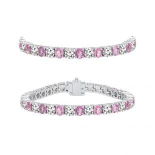 7.00 Carat (ctw) 14K White Gold Round Real Pink Sapphire & White Diamond Ladies Tennis Bracelet 7 CT