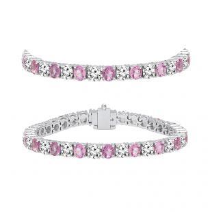 8.00 Carat (ctw) 14K White Gold Round Real Pink Sapphire & White Diamond Ladies Tennis Bracelet 8 CT