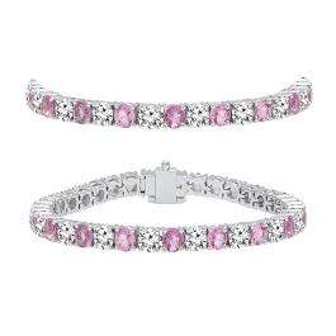 10.00 Carat (ctw) 18K White Gold Round Real Pink Sapphire & White Diamond Ladies Tennis Bracelet 10 CT