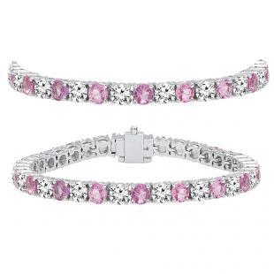 15.00 Carat (ctw) 18K White Gold Round Real Pink Sapphire & White Diamond Ladies Tennis Bracelet 15 CT