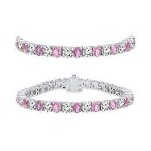 8.00 Carat (ctw) 18K White Gold Round Real Pink Sapphire & White Diamond Ladies Tennis Bracelet 8 CT