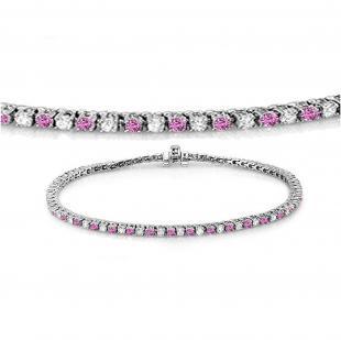 1.50 Carat (ctw) 18K White Gold Round Real Pink Sapphire & White Diamond Ladies Tennis Bracelet 1 1/2 CT