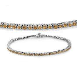 2.00 Carat (ctw) 10K White Gold Round Cut Real Champagne Diamond Ladies Tennis Bracelet 2 CT