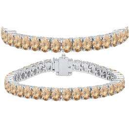 15.00 Carat (ctw) 14K White Gold Round Cut Real Champagne Diamond Ladies Tennis Bracelet 15 CT