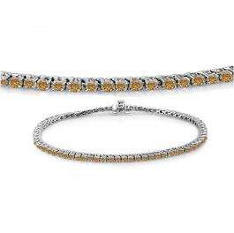 1.50 Carat (ctw) 14K White Gold Round Cut Real Champagne Diamond Ladies Tennis Bracelet 1 1/2 CT