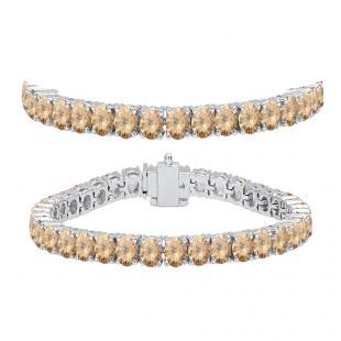 10.00 Carat (ctw) 18K White Gold Round Cut Real Champagne Diamond Ladies Tennis Bracelet 10 CT